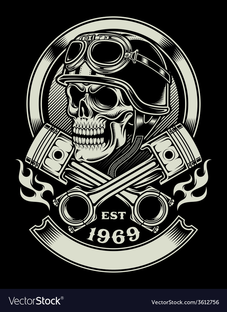 Vintage biker skull with crossed piston emblem vector | Price: 3 Credit (USD $3)