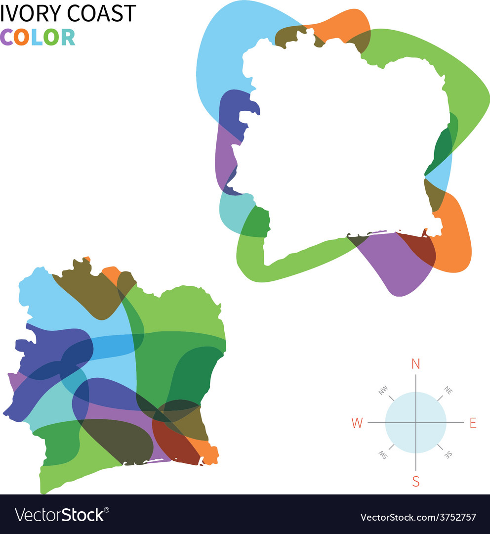 Abstract color map of ivory coast vector | Price: 1 Credit (USD $1)