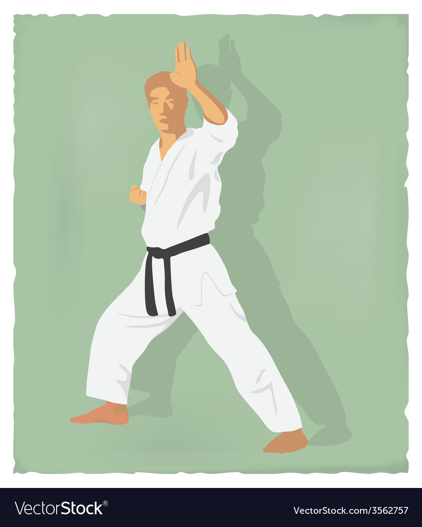 An old picture of men engaged in karate vector | Price: 1 Credit (USD $1)