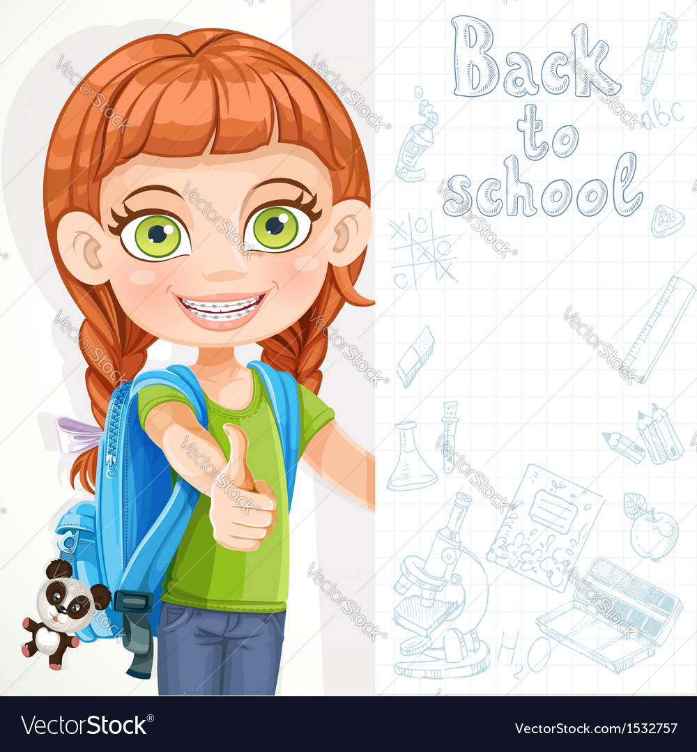 Cute little girl student with a big banner vector | Price: 3 Credit (USD $3)