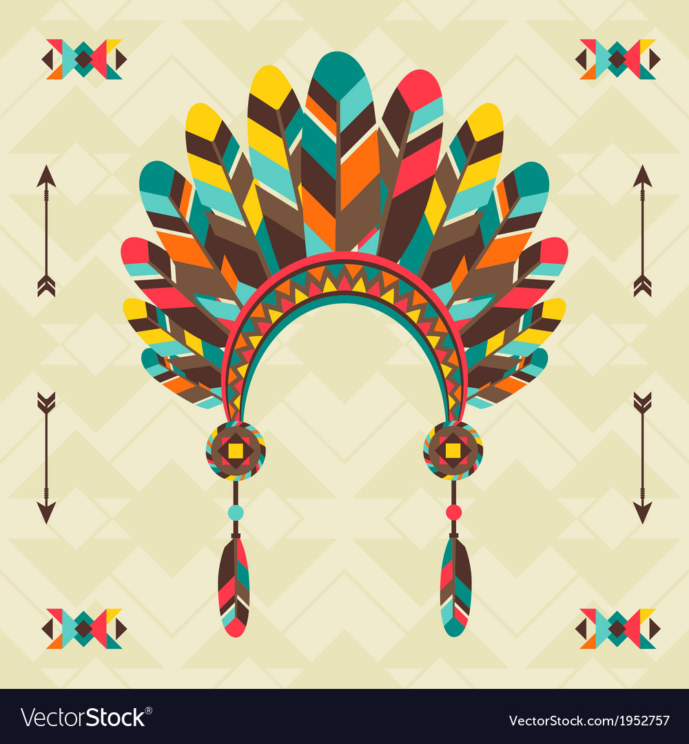 Ethnic background with headband in navajo design vector | Price: 1 Credit (USD $1)