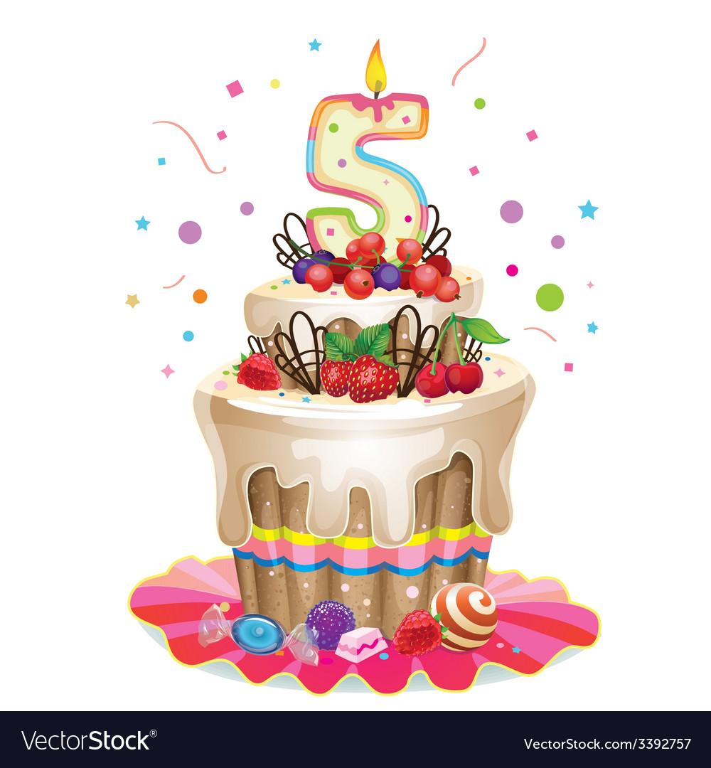 Happy birthday cake 5 vector | Price: 3 Credit (USD $3)