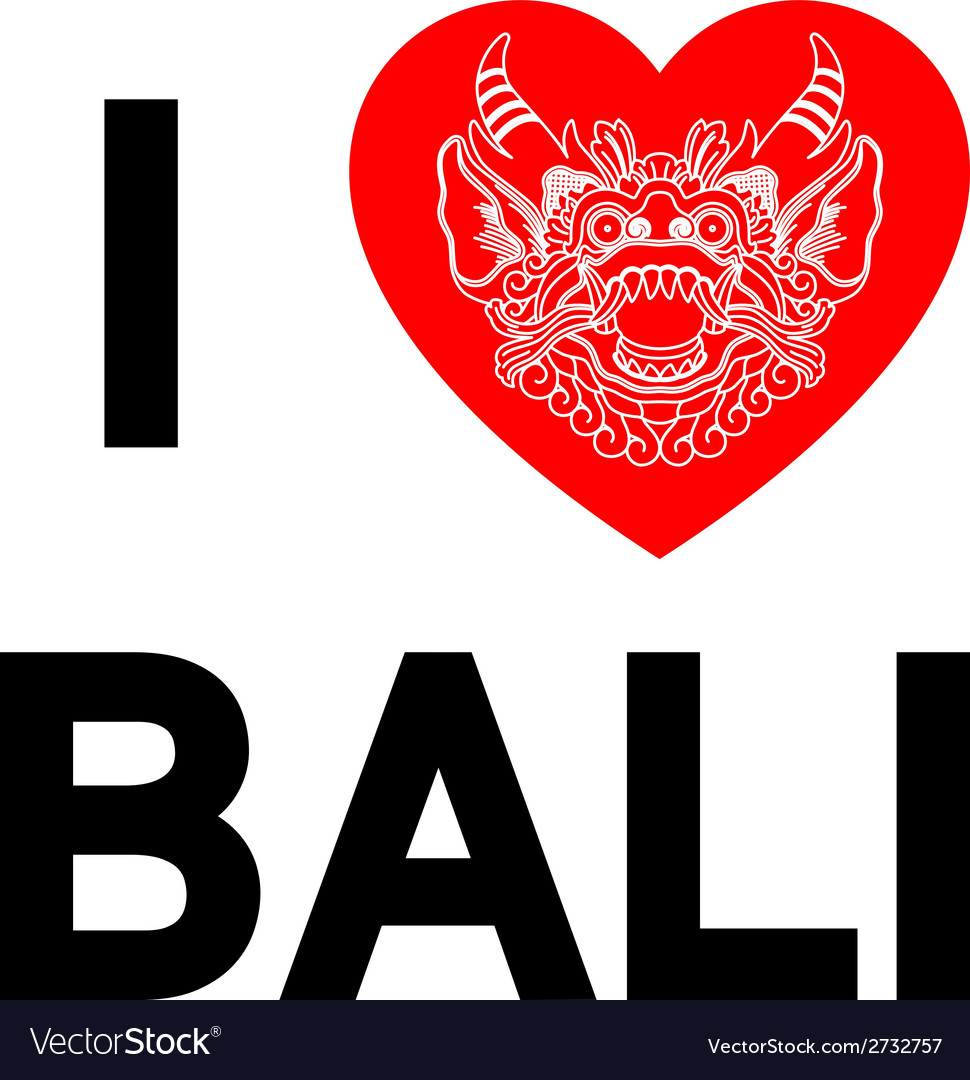 I love bali heart with ethnic gods head vector | Price: 1 Credit (USD $1)