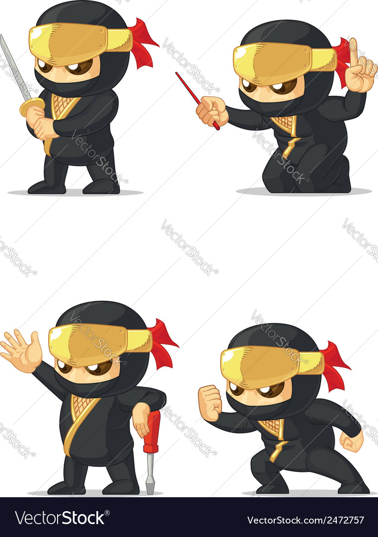 Ninja customizable mascot 16 vector | Price: 1 Credit (USD $1)
