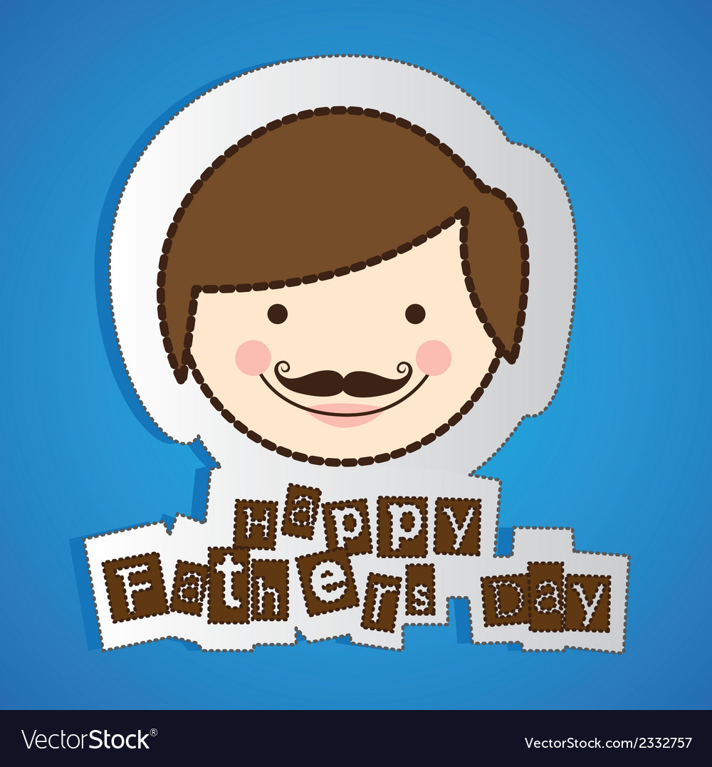Stickers of fathers day isolate on blue background vector | Price: 1 Credit (USD $1)