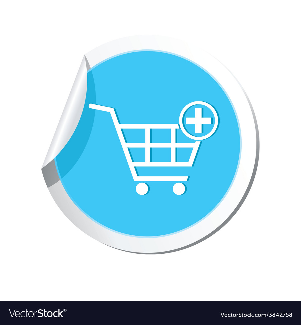 Add to basket blue label vector | Price: 1 Credit (USD $1)