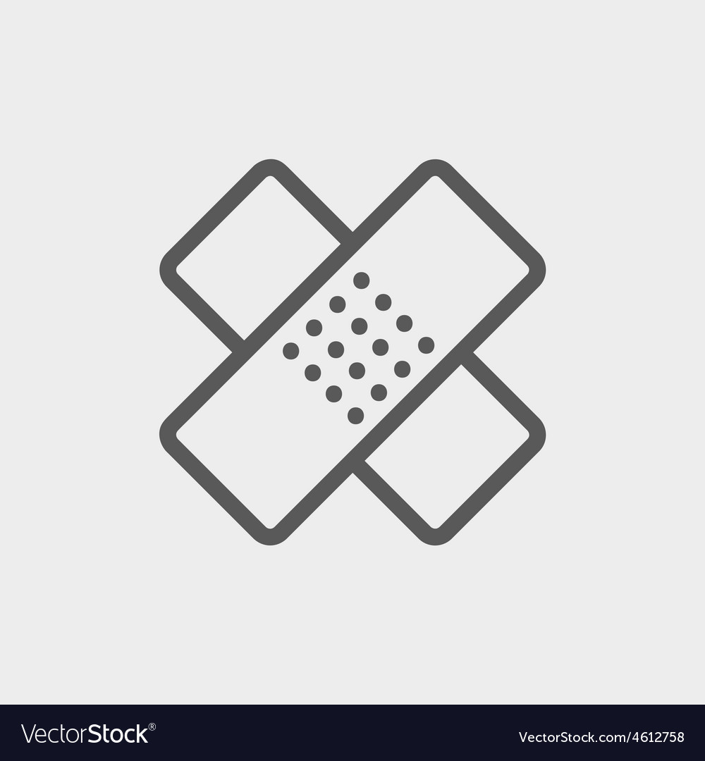 Adhesive bandage thin line icon vector | Price: 1 Credit (USD $1)