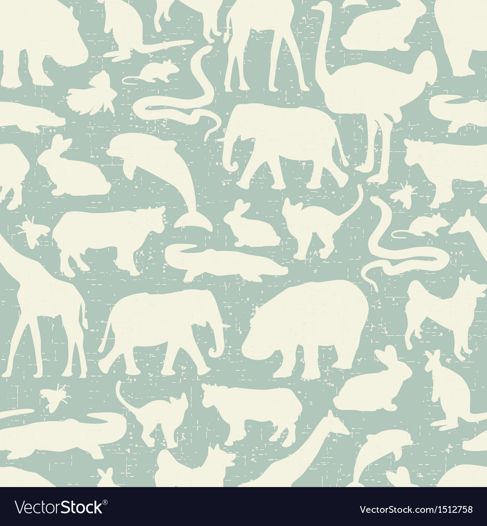 Animals silhouette seamless pattern vector