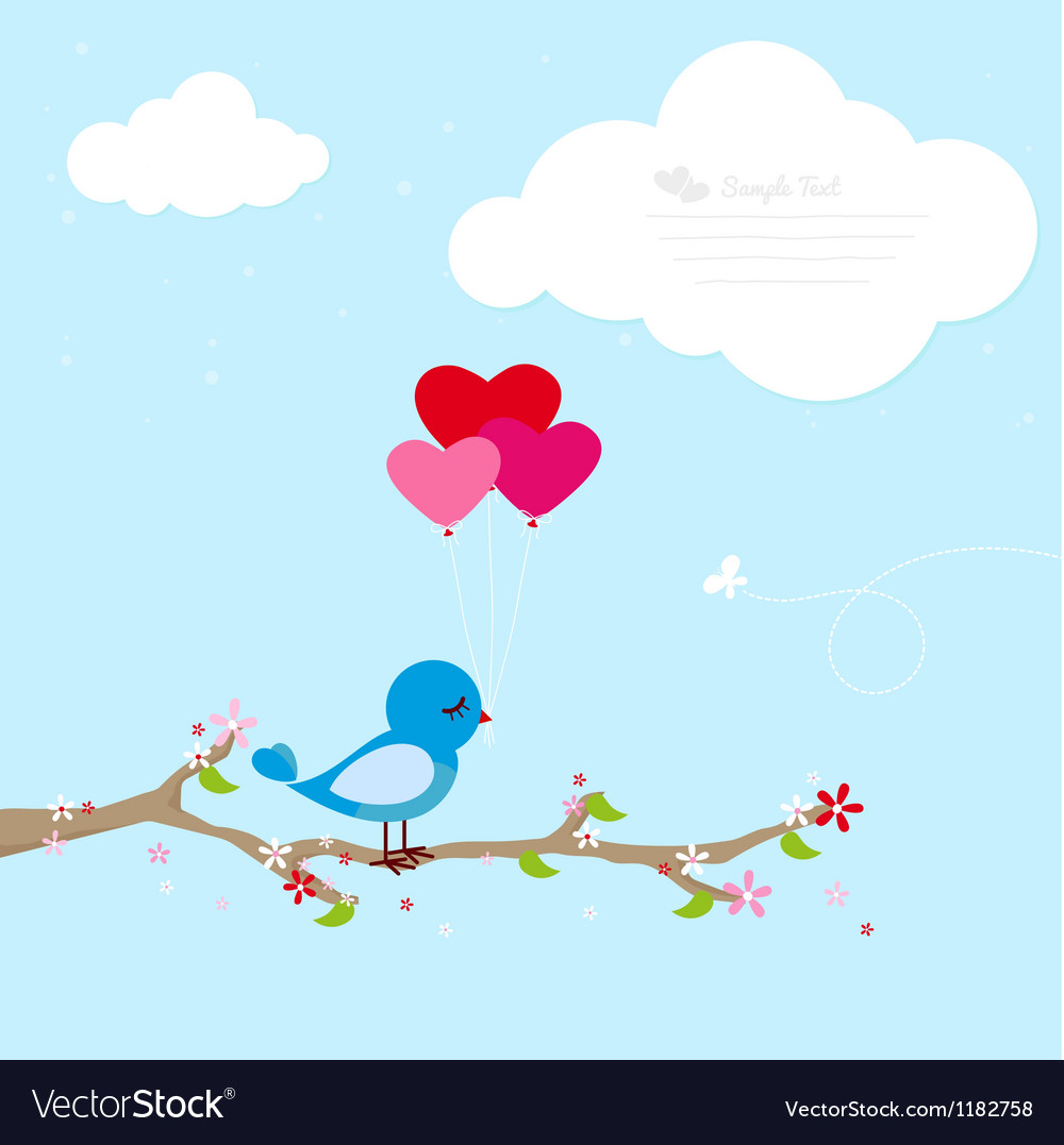 Blue bird with balloons vector | Price: 1 Credit (USD $1)