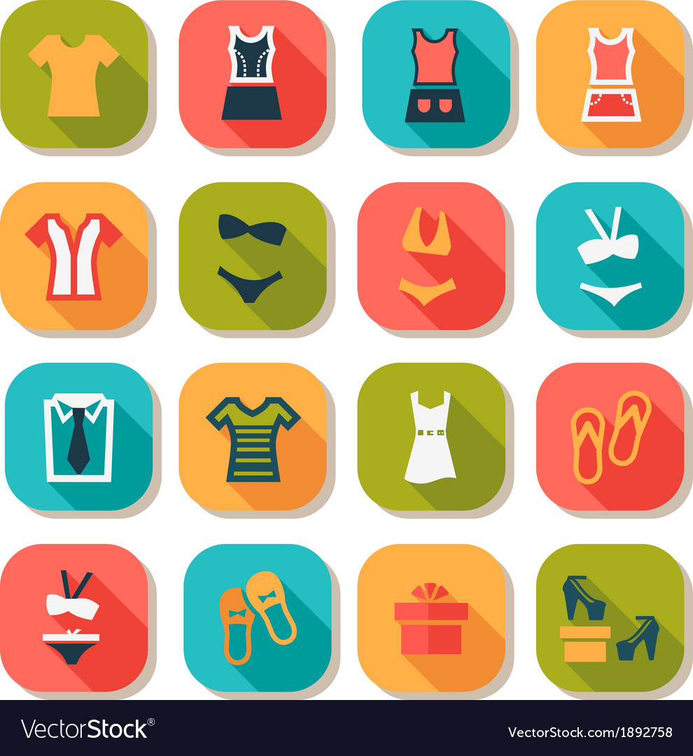 Flat fashion clothes icons vector | Price: 1 Credit (USD $1)