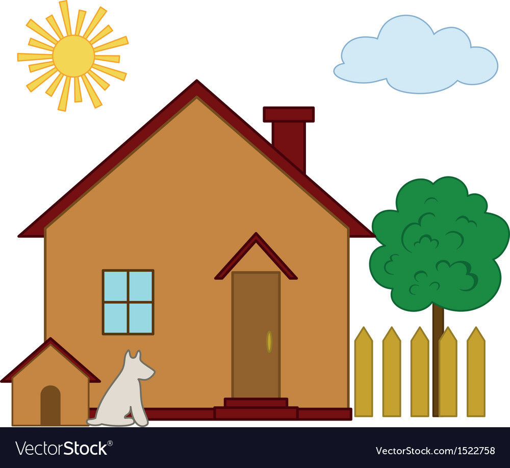 House dog and tree vector | Price: 1 Credit (USD $1)