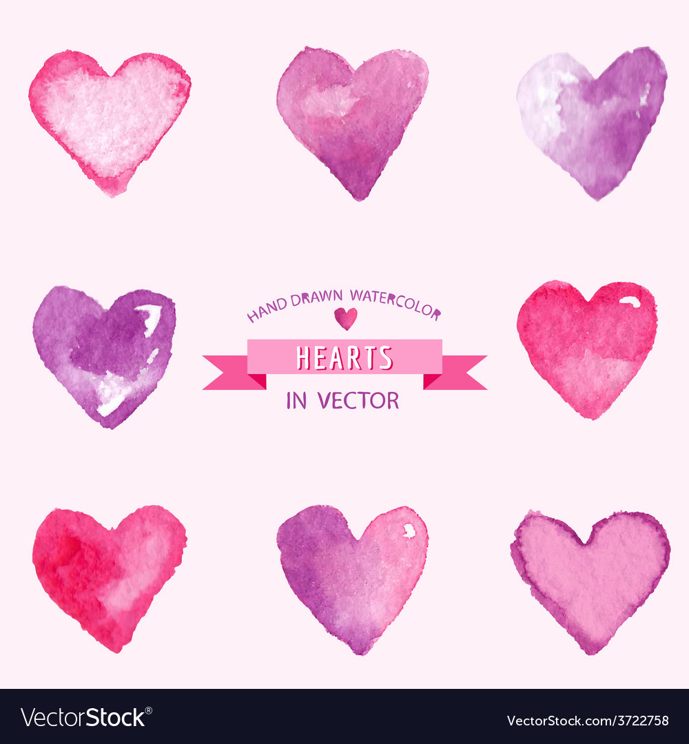 Set of hearts - hand drawn in watercolor vector | Price: 1 Credit (USD $1)