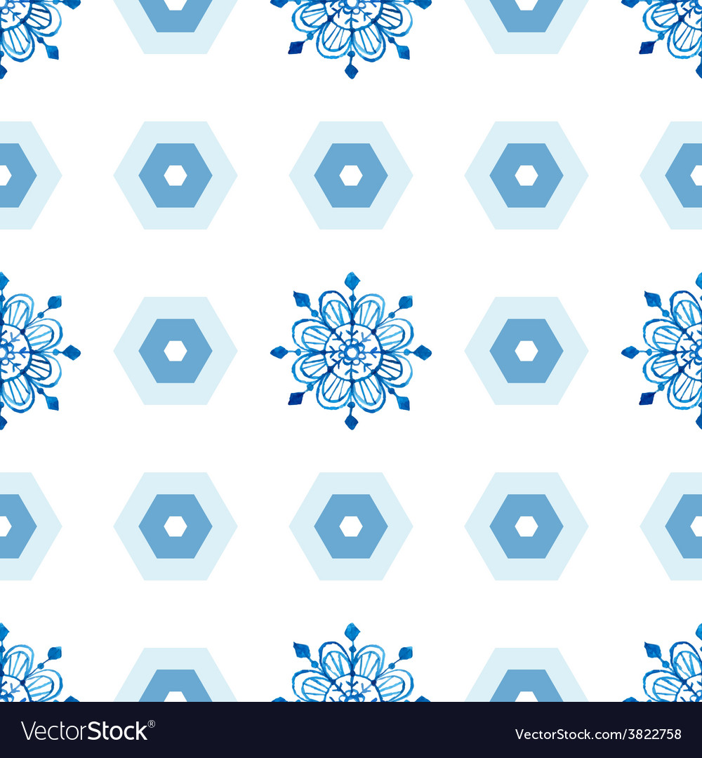 Watercolor snowflakes seamless pattern vector   Price: 1 Credit (USD $1)