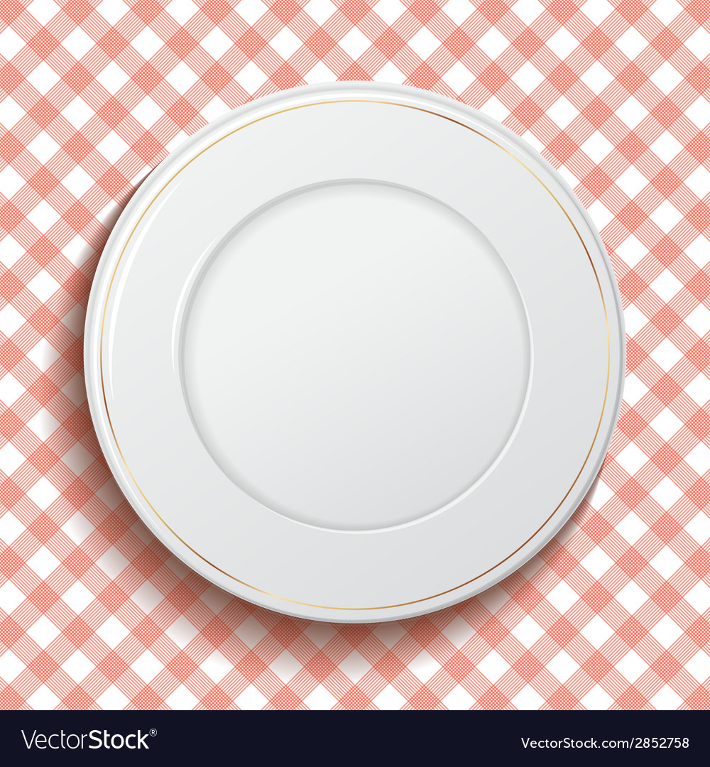 White classic plate on red checkered tablecloth vector | Price: 1 Credit (USD $1)