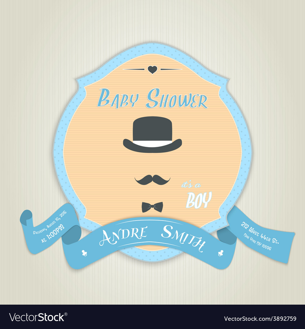 Baby shower invitation with gentleman with bow tie vector | Price: 1 Credit (USD $1)