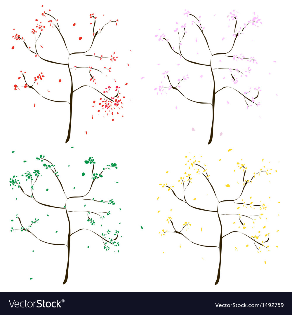 Four colored wood - green yellow red pink vector | Price: 1 Credit (USD $1)