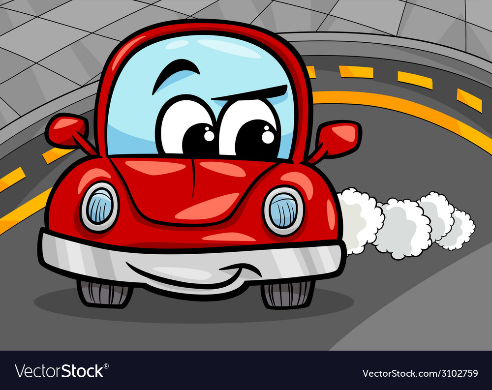 Funny retro car cartoon vector