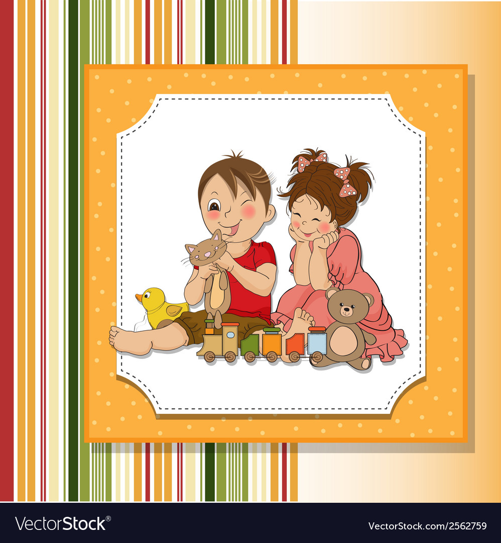 Girl and boy plays with toys vector | Price: 1 Credit (USD $1)