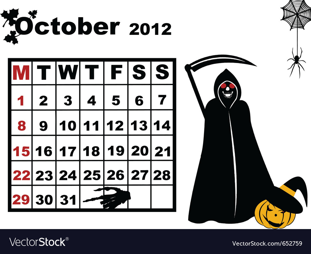 October calendar 2012 vector | Price: 1 Credit (USD $1)