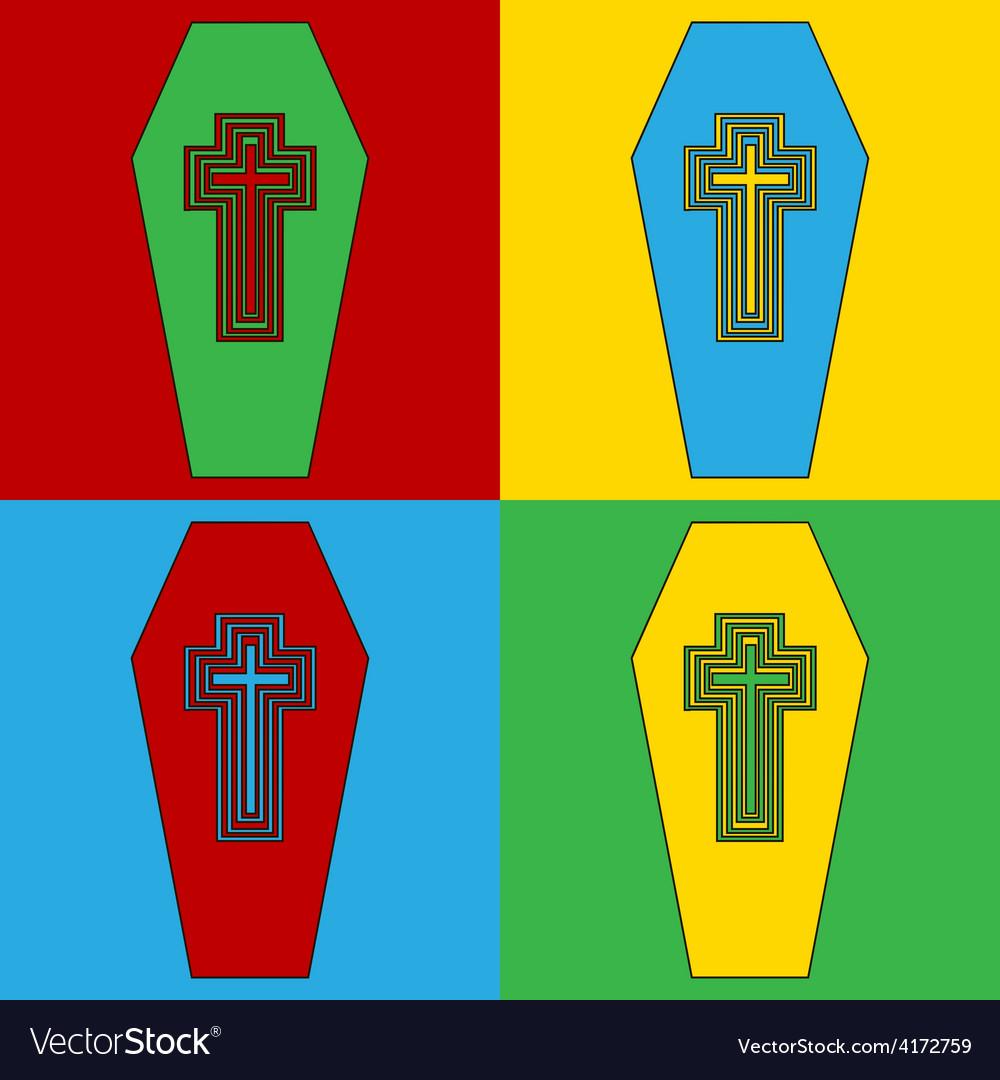 Pop art coffin icons vector | Price: 1 Credit (USD $1)