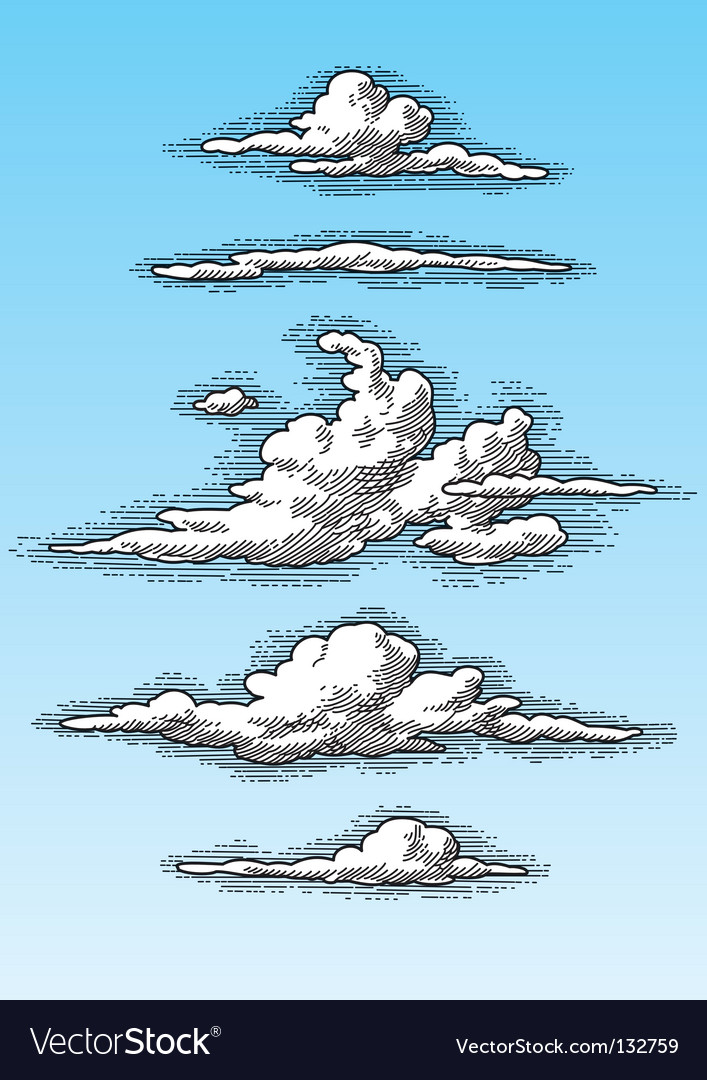 Retro clouds vector | Price: 1 Credit (USD $1)