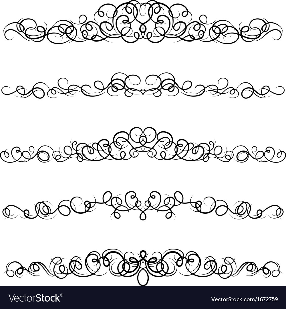 Set of curled calligraphic design elements vector | Price: 1 Credit (USD $1)