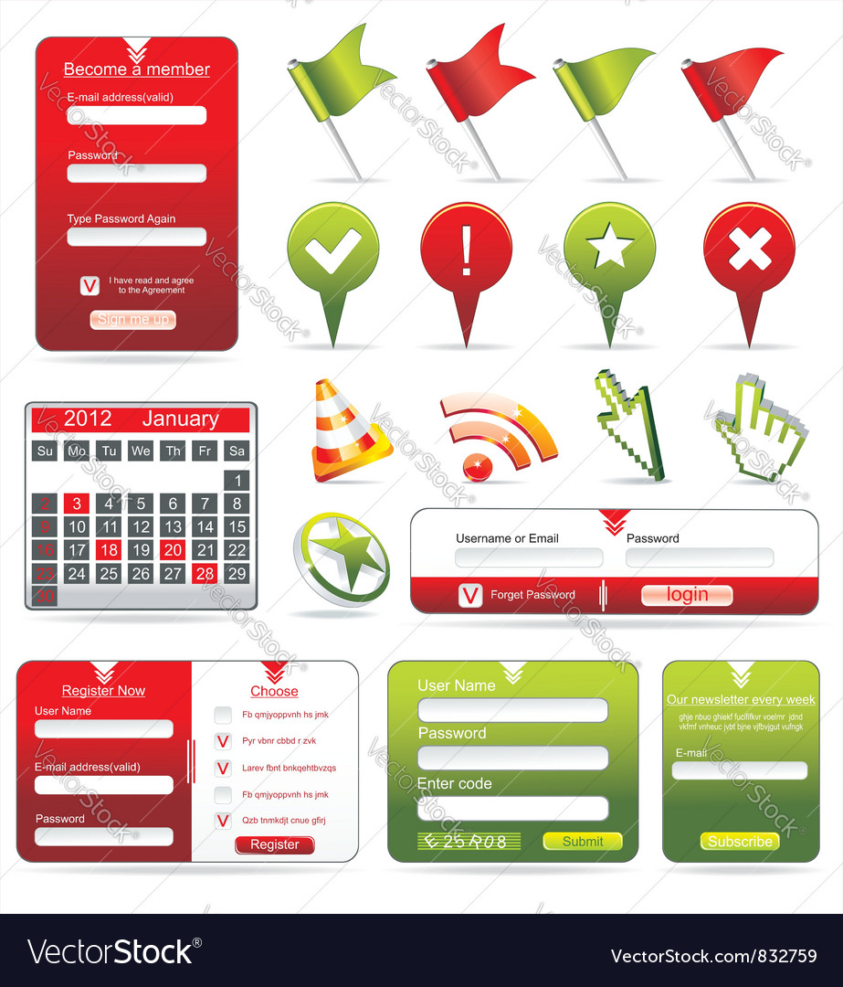 Set of web forms vector | Price: 3 Credit (USD $3)