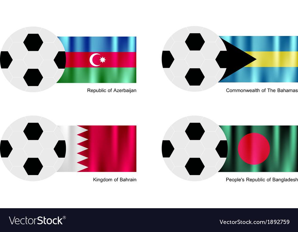 Soccer ball with azerbaijan bahamas bahrain flag vector   Price: 1 Credit (USD $1)