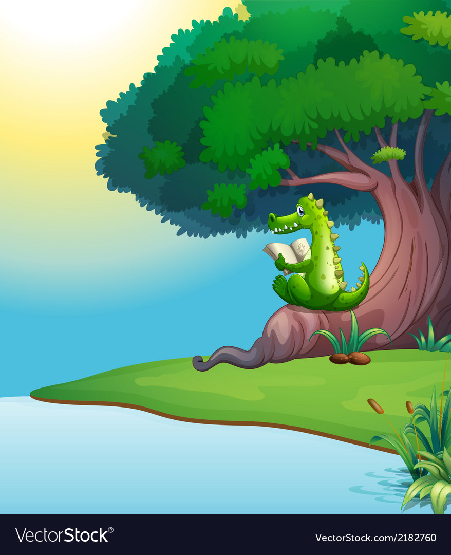 A crocodile reading under the tree vector | Price: 3 Credit (USD $3)