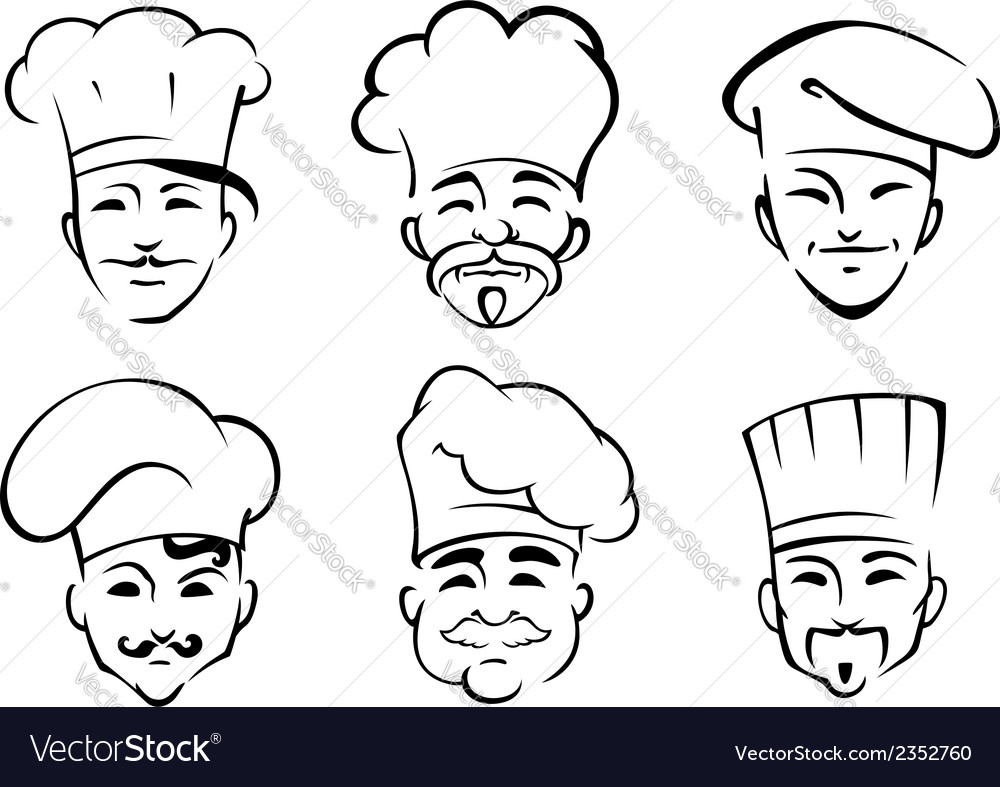 Cartoon chefs in toques vector | Price: 1 Credit (USD $1)