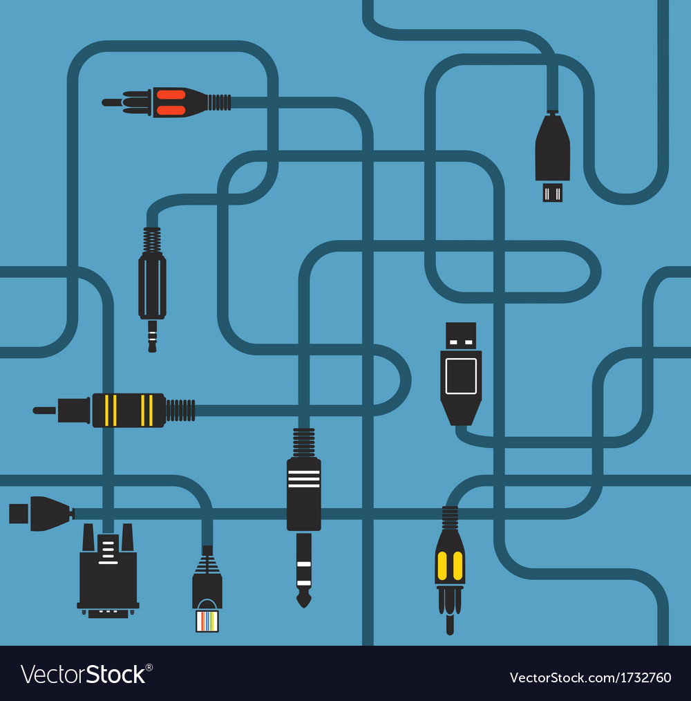 Different modern connection plugs and wires vector | Price: 1 Credit (USD $1)