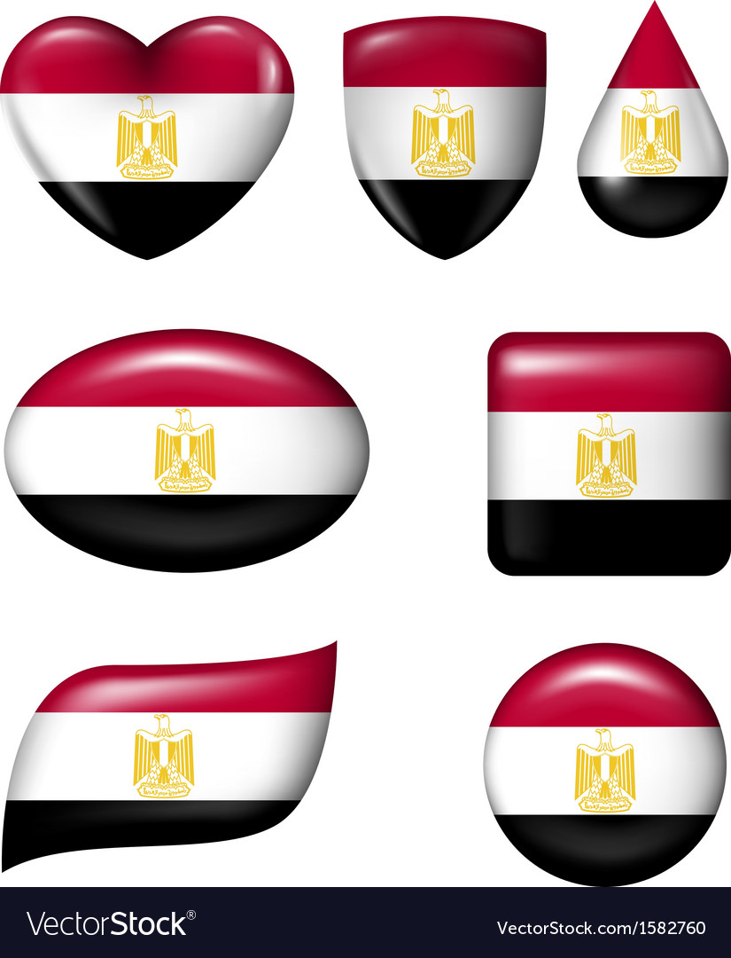 Egypt flag in various shape glossy button vector | Price: 1 Credit (USD $1)