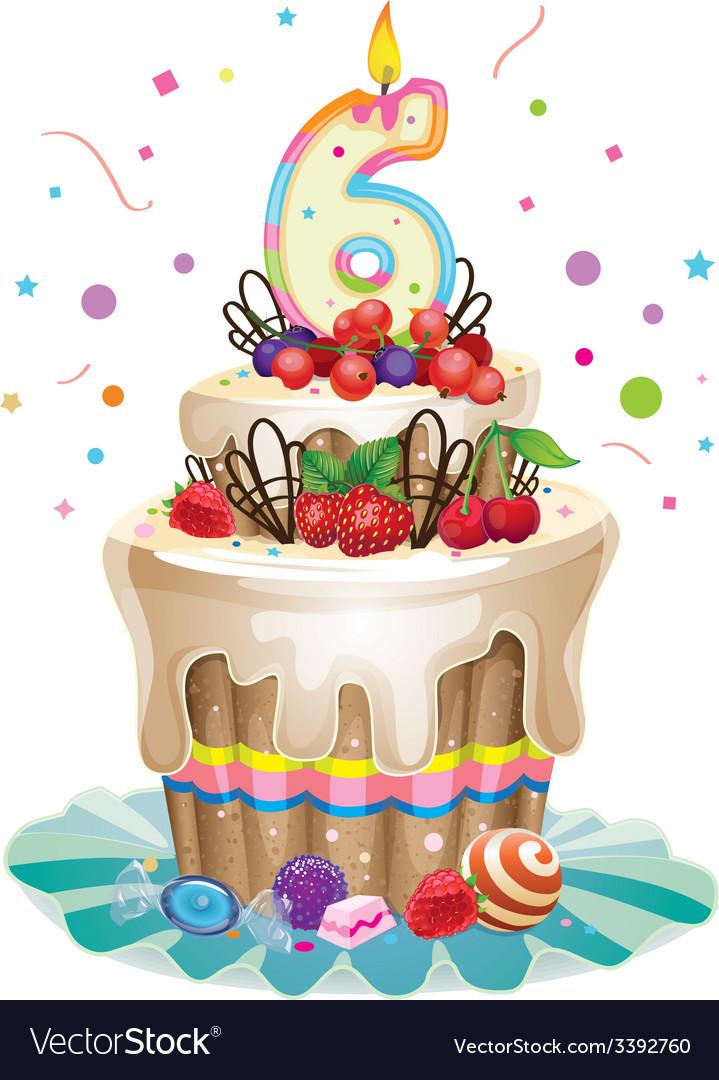 Happy birthday cake 6 vector | Price: 3 Credit (USD $3)