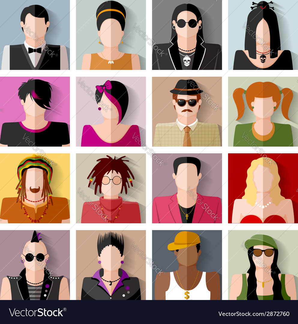 People icon set vector | Price: 1 Credit (USD $1)