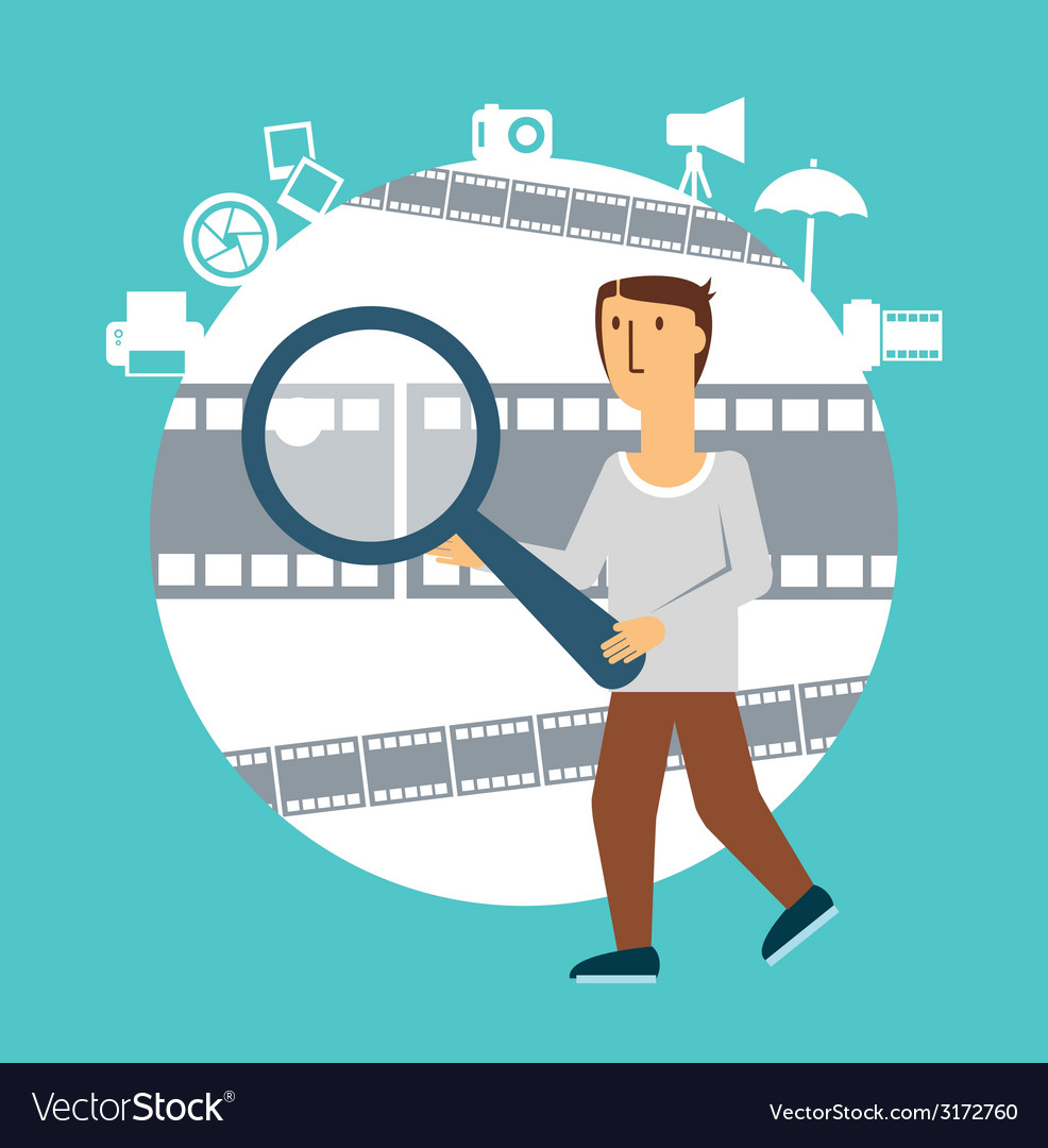 Photographer holding a magnifying glass vector | Price: 1 Credit (USD $1)