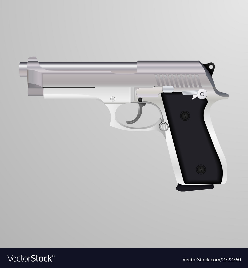 Realistic of a silver handgun vector | Price: 1 Credit (USD $1)