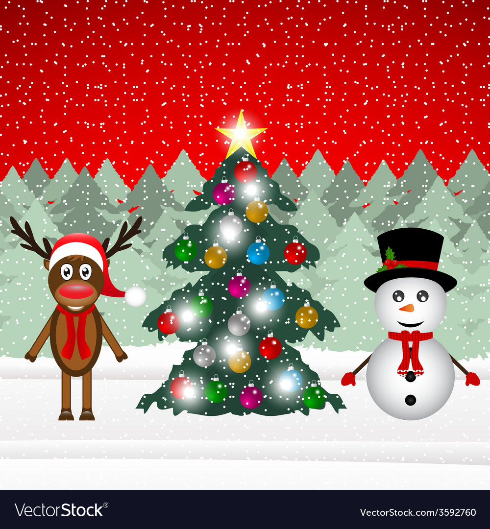 Reindeer and snowman in a forest vector | Price: 1 Credit (USD $1)