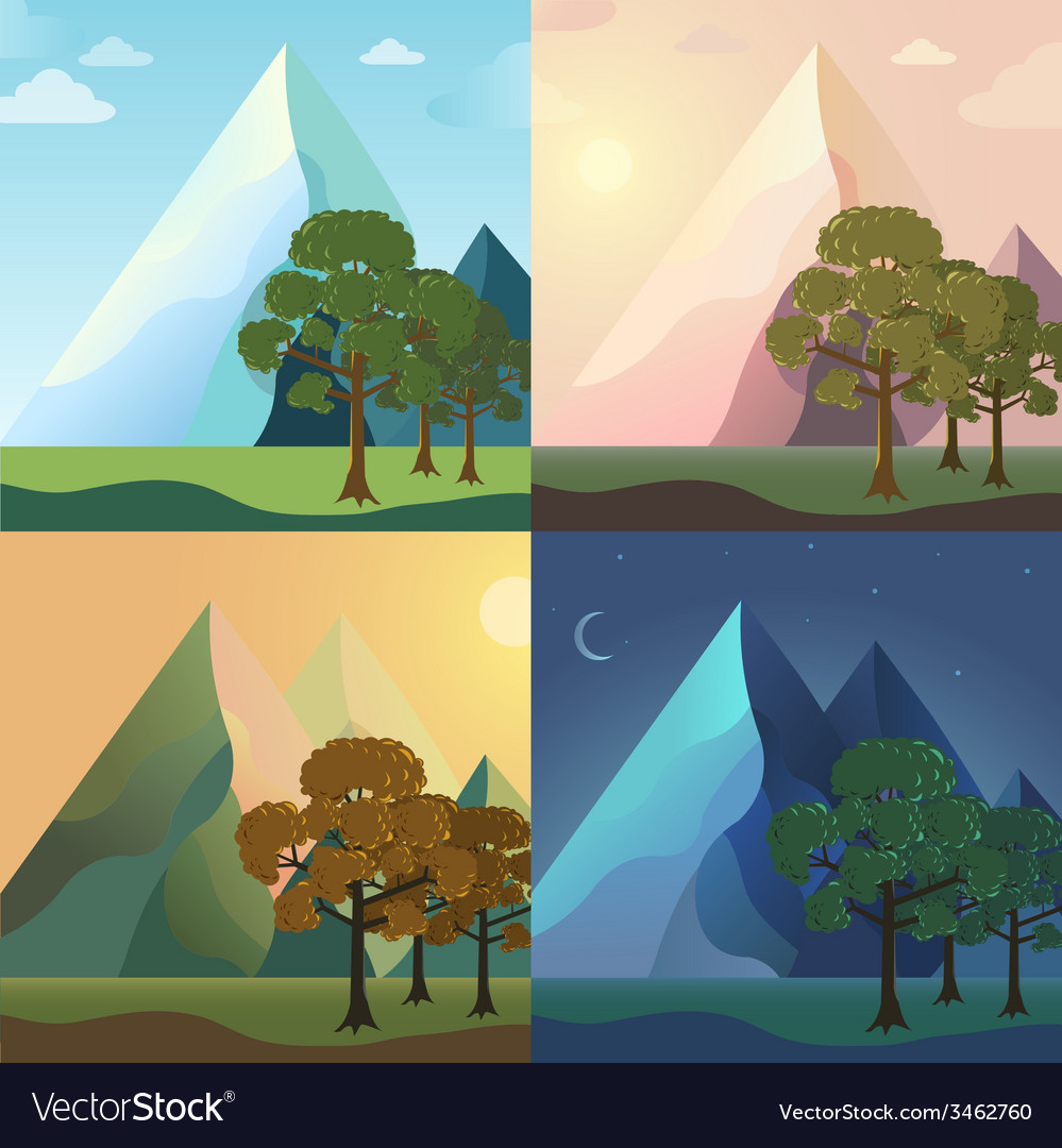 Season icon set of nature tree background tamplate vector | Price: 1 Credit (USD $1)