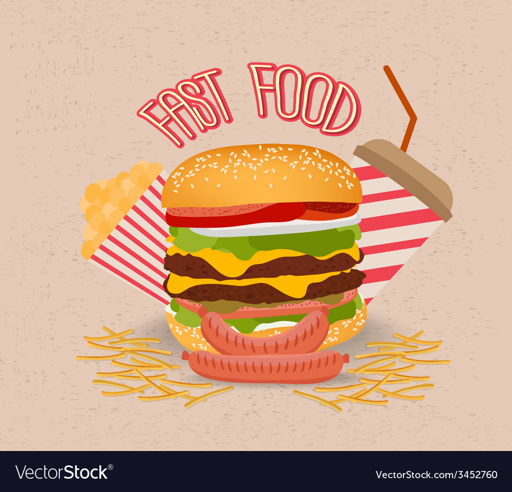 Set of fast food with hamburger vector
