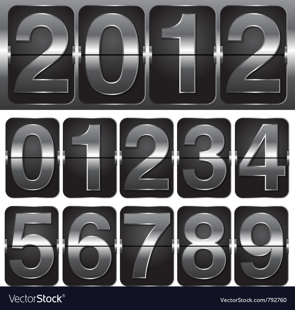 Set of numbers on mechanical timetable vector | Price: 1 Credit (USD $1)