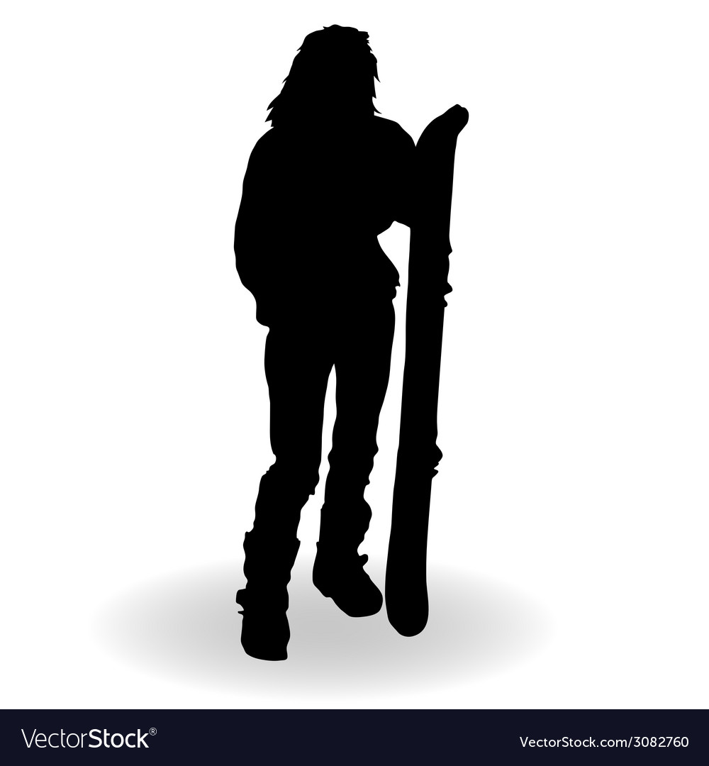 Snowboarding woman silhouette vector | Price: 1 Credit (USD $1)