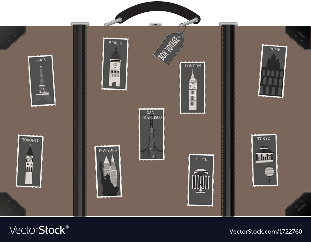 Travel sutecase with stamps vector | Price: 1 Credit (USD $1)