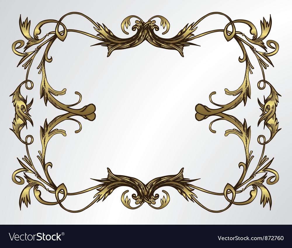 Vintage gold floral frame vector | Price: 1 Credit (USD $1)