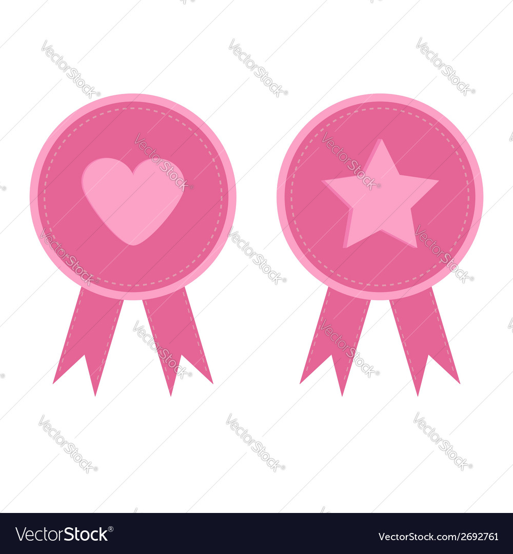 Badge set with heart star star heart and ribbons vector | Price: 1 Credit (USD $1)