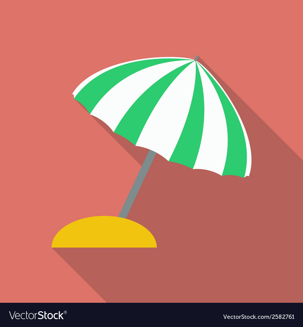 Beach umbrella icon modern flat style with a long vector | Price: 1 Credit (USD $1)