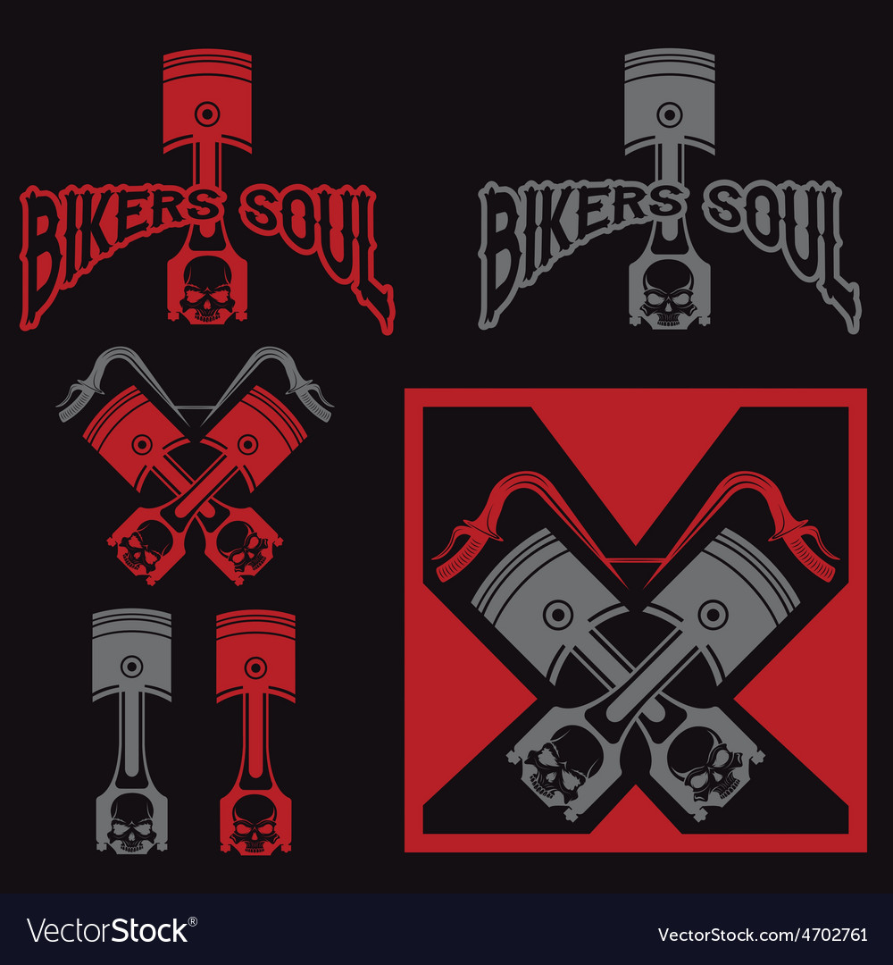 Biker theme labels with pistons and skulls vector | Price: 1 Credit (USD $1)