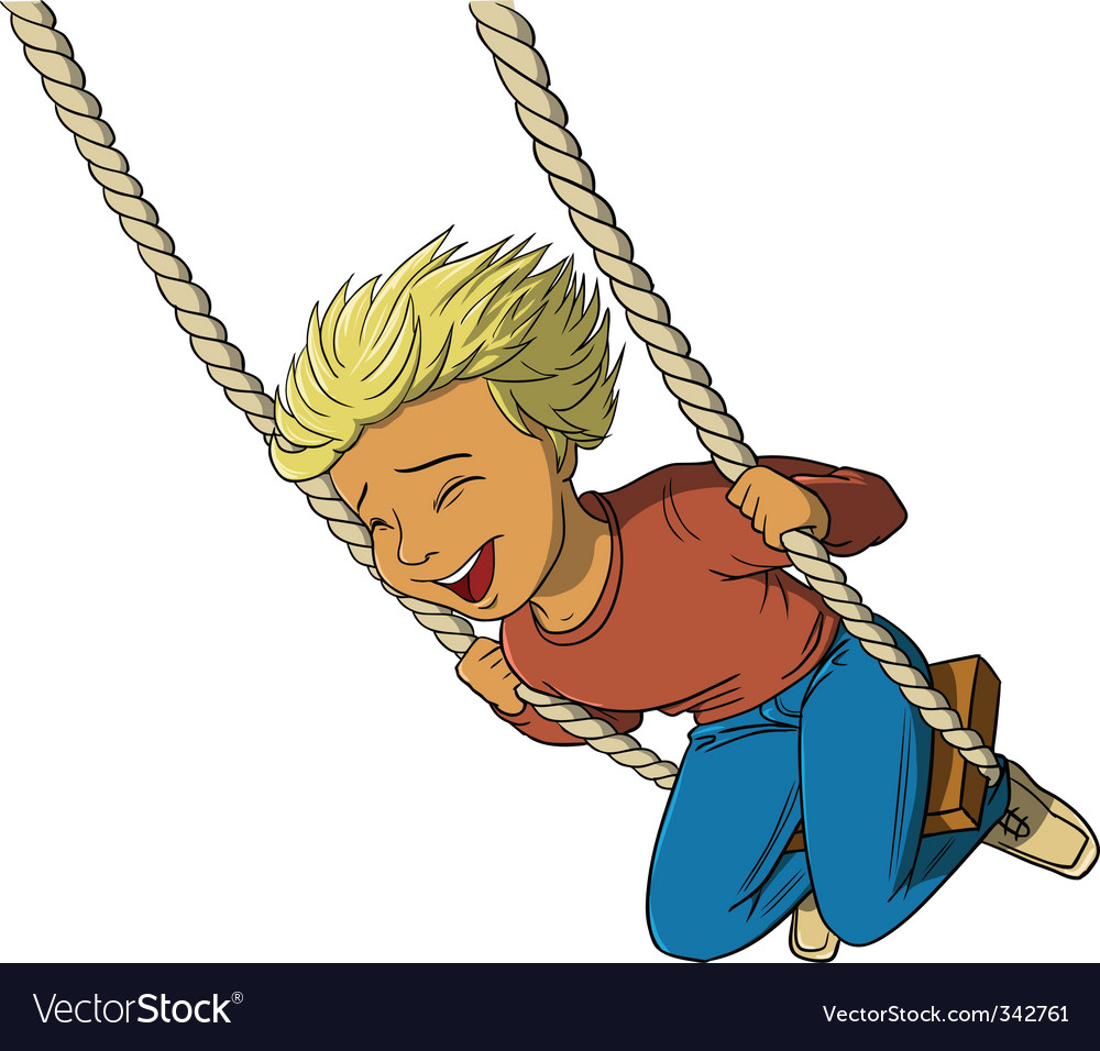 Boy on swing vector | Price: 3 Credit (USD $3)