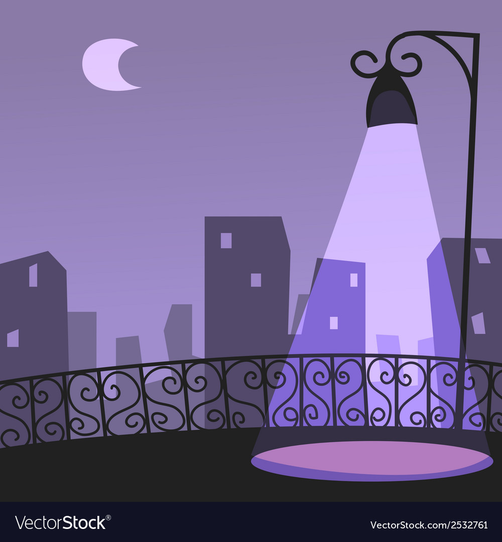 City night scene vector | Price: 1 Credit (USD $1)