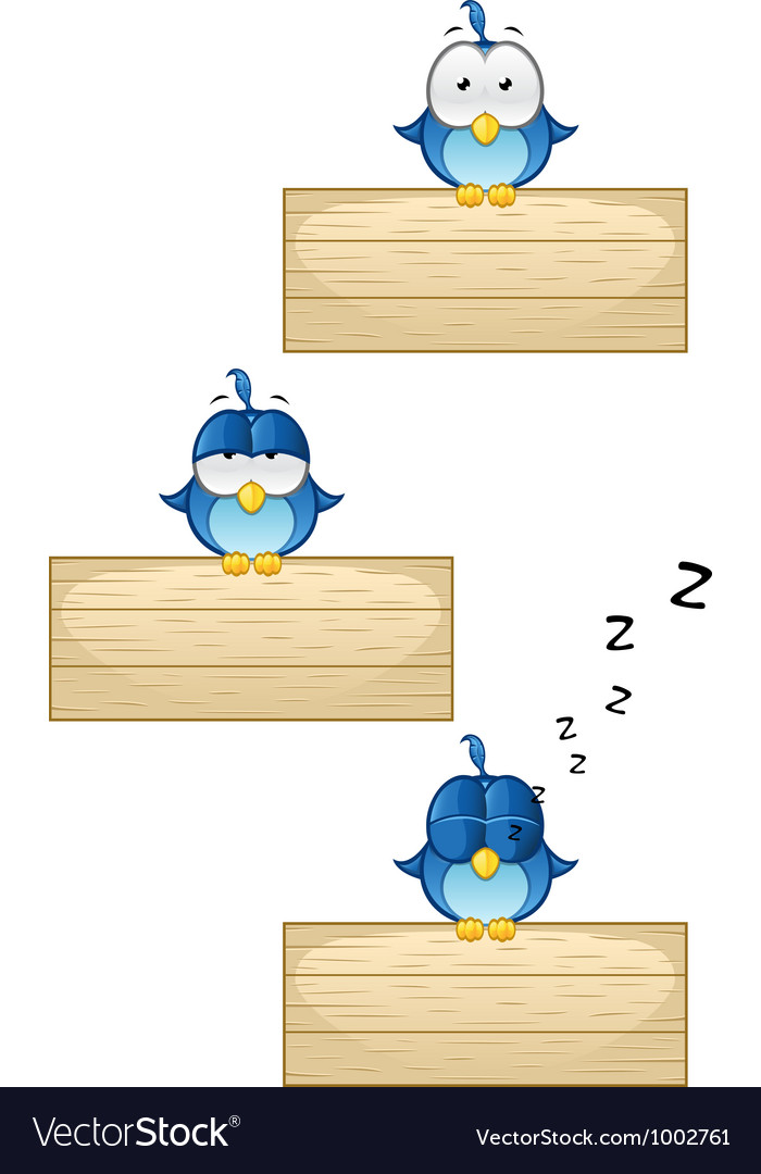 Cute blue birds on wooden sign set 1 vector | Price: 1 Credit (USD $1)