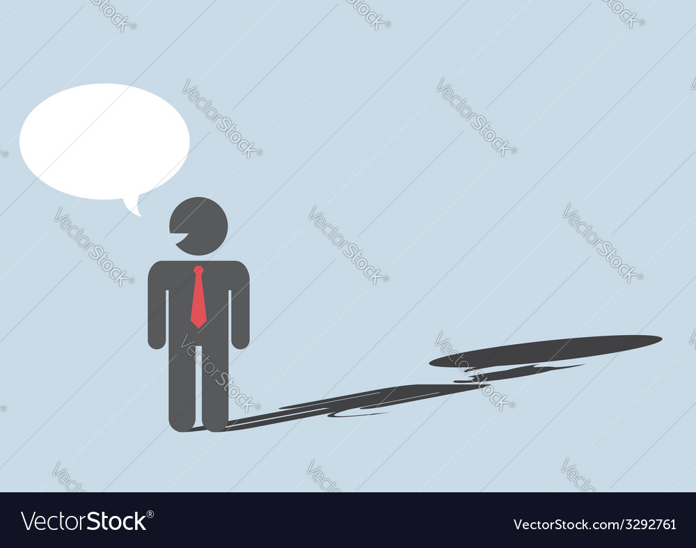 Devil shadow behind a smiling face of businessmen vector | Price: 1 Credit (USD $1)